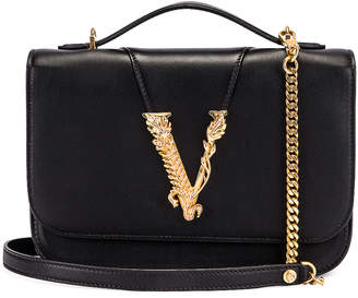 Versace Leather Tribute Crossbody Bag in Black & Gold   FWRD