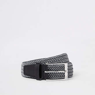 River Island Mens Grey and white woven buckle belt