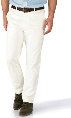 Charles Tyrwhitt White Slim Fit Flat Front Washed Cotton Chino Pants Size W30 L32