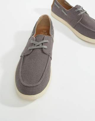 Toms Canvas Boat Shoes In Dark Grey