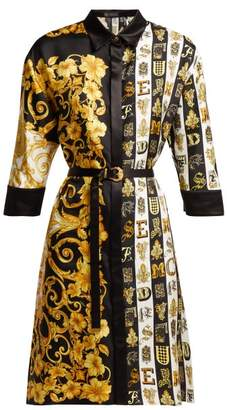 Versace Baroque Print Silk Twill Shirtdress - Womens - Gold Multi