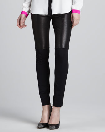 Milly Bri Front Leather Panel Pants