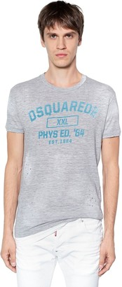 DSQUARED2 Flocked Cotton Blend Jersey T-Shirt
