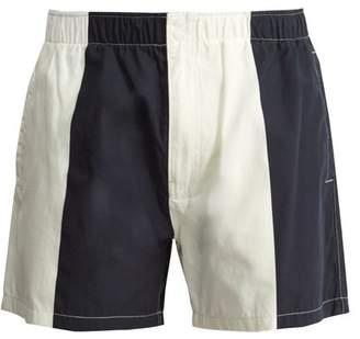 Saturdays Nyc - Trent Contrast Panel Swim Shorts - Mens - Navy White