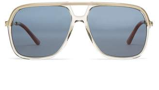 Gucci Rectangular-frame acetate and metal sunglasses