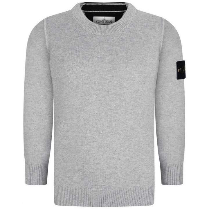 Stone IslandBoys Grey Cotton Knit Sweater