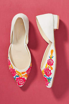 Anthropologie Embroidered D'Orsay Flats