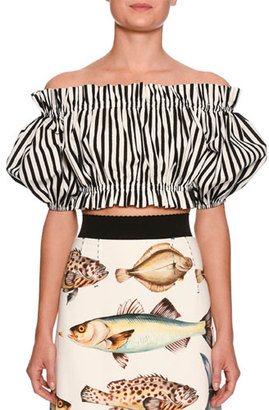 Dolce & Gabbana Striped Off-the-Shoulder Cropped Top, White/Black $575 thestylecure.com