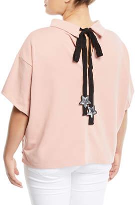 Lumie Sequin-Star Tie-Back Short-Sleeve Blouse, Plus Size, Mauve