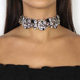 Nikita By Niki ® Black And Gold Rhinestone Choker Necklace