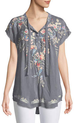Johnny Was Dreaming Embroidered Tie-Front Blouse, Plus Size
