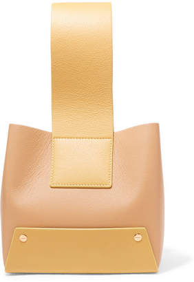 Yuzefi - Tab Small Two-tone Textured-leather Tote - Yellow
