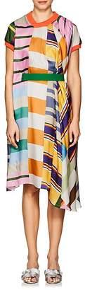 Kolor Women's Geometric-Print Belted Trapeze Dress