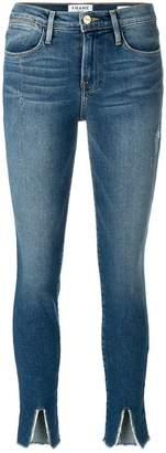 Frame hem slit cropped jeans