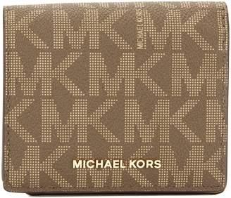 Michael Kors Mocha Signature Canvas Jet Set Travel Logo Card Case (3554021)