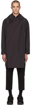 ALMOSTBLACK Black Hooded Drapped Coat
