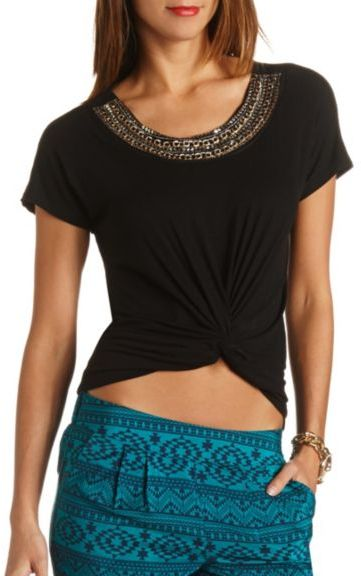 Charlotte Russe Chain & Sequin Embellished Top