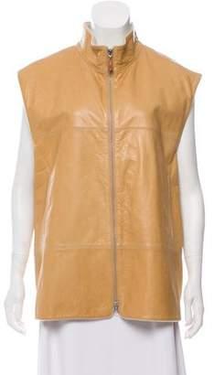 Brunello Cucinelli Leather Cashmere Vest