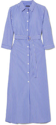 MDS Stripes - Striped Cotton-poplin Midi Dress - Navy