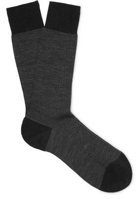 Pantherella Finsbury Herringbone Merino Wool-Blend Socks