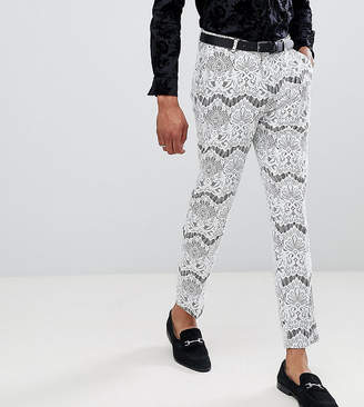 Asos EDITION Tall skinny crop tuxedo suit pants in white lace