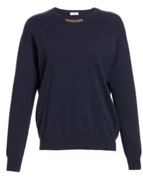 Brunello Cucinelli Monili-Detail Wool, Cashmere & Silk Knit Sweater