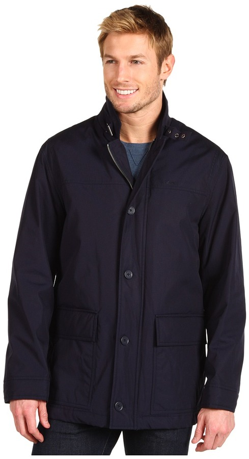 Lacoste Fall Weight Car Coat (Eclipse Blue) - Apparel