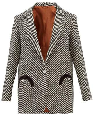 BLAZÉ MILANO Sedov Herringbone Twill Single Breasted Blazer - Womens - Black White