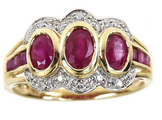 Fine Jewelry LIMITED QUANTITIES Lead Glass-Filled Ruby and Diamond-Accent 10K Yellow Gold Ring pKLgdmADMI