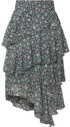 Etoile Isabel Marant Jeezon Tiered Printed Georgette Skirt - Blue