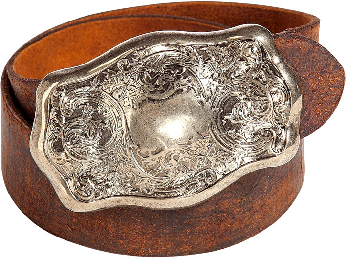 Ralph Lauren Collection Distressed Brown Engraved Plaque Buckle Belt
