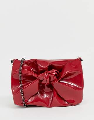New Look Patent Bow Chain Shoulder Bag