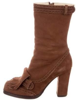 John Galliano Fringe-Trimmed Mid-Calf Boots
