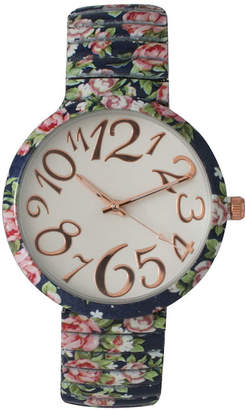 Olivia Pratt Womens Navy Floral Expansion Band Watch 25975Navy
