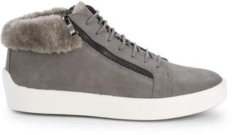 Russell Park Oliver Faux Fur-Trim Suede Sneakers
