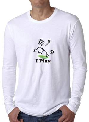 Hollywood Thread Fun and Trendy I Play Soccer Cartoon Graphic Men's Long Sleeve T-Shirt