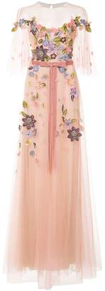 Marchesa floral-appliquéd gown
