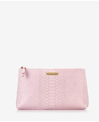 GiGi New York Large Cosmetic Case In Petal Pink Embossed Python