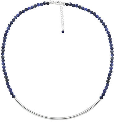 Lord & Taylor Sterling Silver Arc Pendant & Sodalite Bead Necklace
