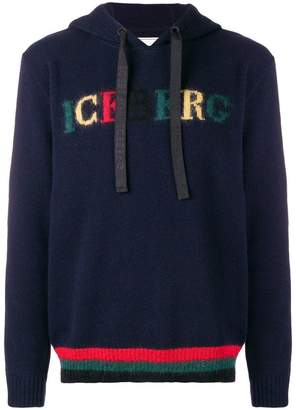 Iceberg logo intarsia hooded jumper