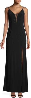 Betsy & Adam Sleeveless Deep V-Neck Gown