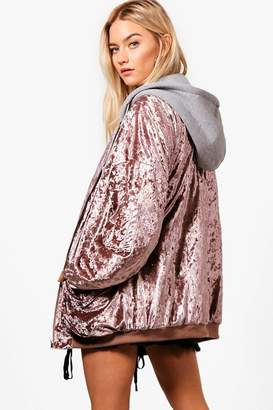 boohoo Boutique Oversized Velvet Bomber With Hood