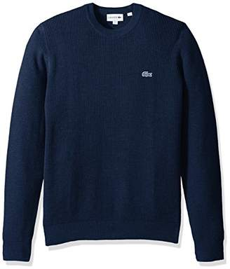 Lacoste Men's Long Sleeve Blue Pack Crew Neck Waffle Stitch Sweater