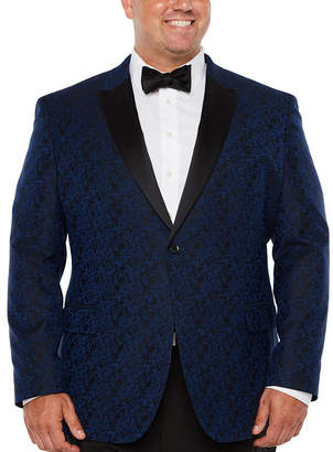 Jf J.Ferrar Formal Stretch Bright Blue Floral Classic Fit Sport Coat - Big and Tall