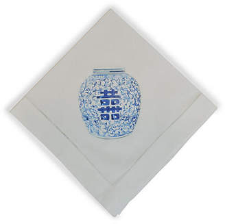 Happiness Pot Dinner Napkin - White - The French Bee