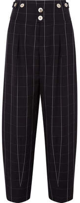 Chloé Checked Wool Wide-leg Pants - Black