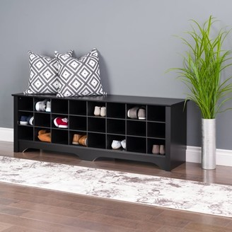 Prepac 24 Pair Entryway Shoe Storage Cubby Bench, Multiple Finishes