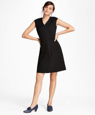 Brooks Brothers Scalloped Ponte Knit A-Line Dress