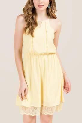 francesca's Savannah Hi-Neck Key Hole Lace Trim A-Line Dress - Lemonade