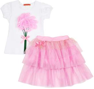 Funkyberry Tulle Accented Tee and Skirt Set